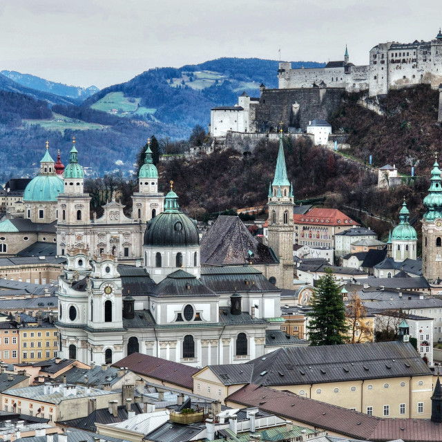 """View from Mönchsberg Hill towards old town, Salzburg, Austria"" stock image"