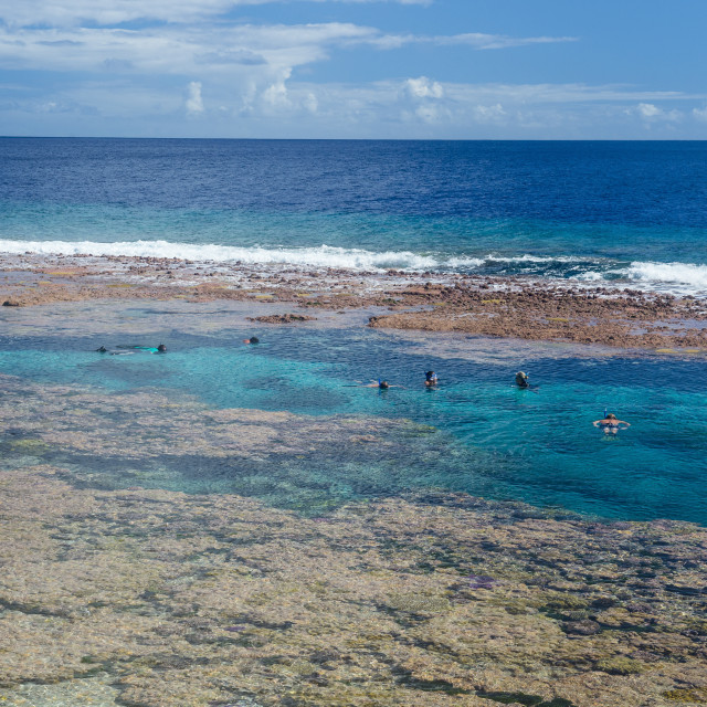 """""""People swimming in the amazing Limu low tide pools, Niue, South Pacific"""" stock image"""