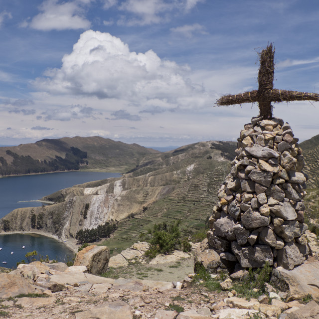 """Cross and altar on island of the Sun on Lake Titicaca, Bolivia. South America"" stock image"