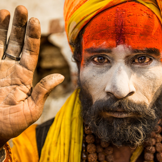 """Holy man at Pashupati Temple"" stock image"