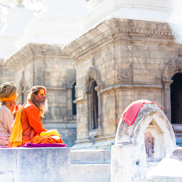 """Holy men at Pashupati Temple"" stock image"