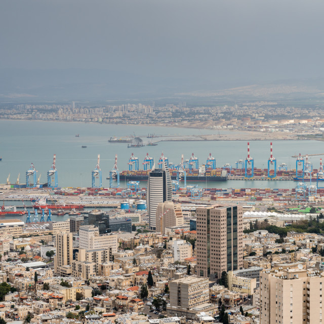 """""""View over the city and port, Haifa, Israel, Middle East"""" stock image"""
