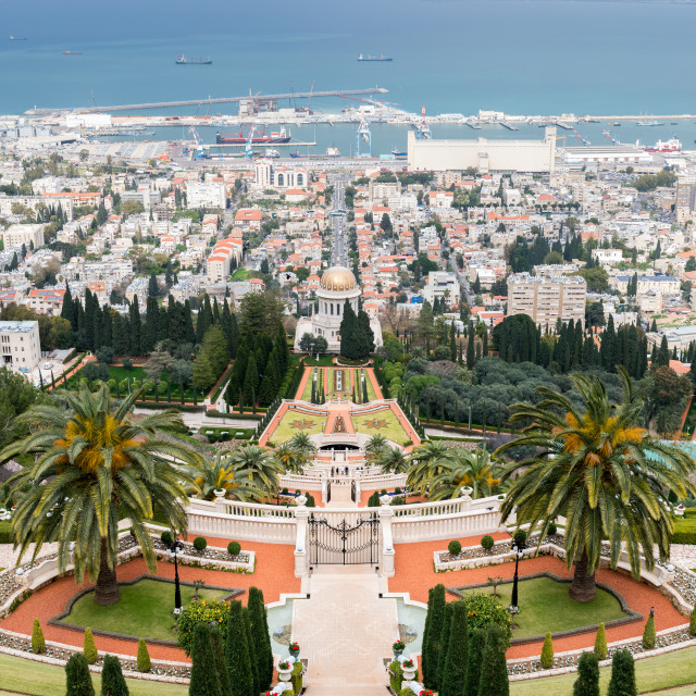 """""""View over the Bahai Gardens, Haifa, Israel, Middle East"""" stock image"""
