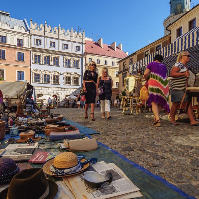 """Poland, Lublin Voivodeship, City of Lublin, Old Town, Flea Market on the..."" stock image"