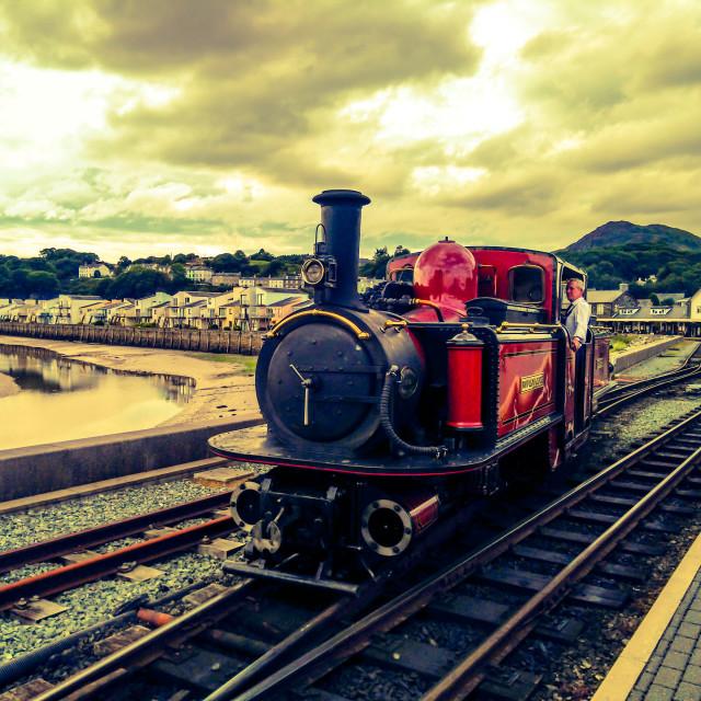 """""""Ffestiniog Railway, Porthmadog, North Wales"""" stock image"""