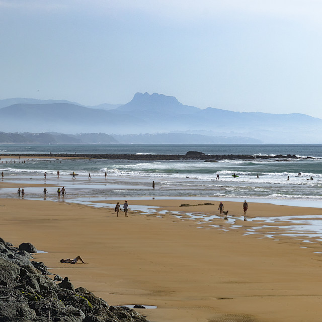 """""""Biarritz By The Beach with Spain in the distance"""" stock image"""