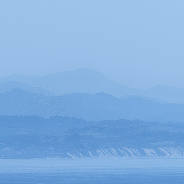 """San Sebastian in the mist"" stock image"