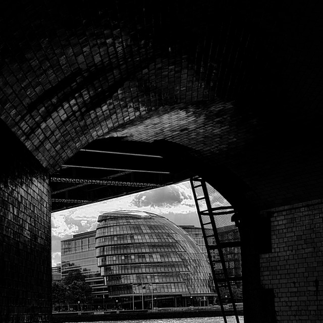 """""""City Hall London Tunnel Vision BnW"""" stock image"""