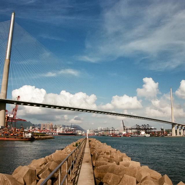 """Stonecutters Bridge, Hong Kong"" stock image"