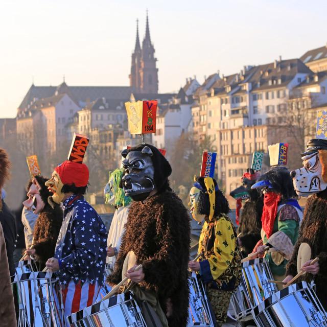 """Carnival of Basel, Basler Fasnacht, Basel, Canton of Basel City, Switzerland"" stock image"