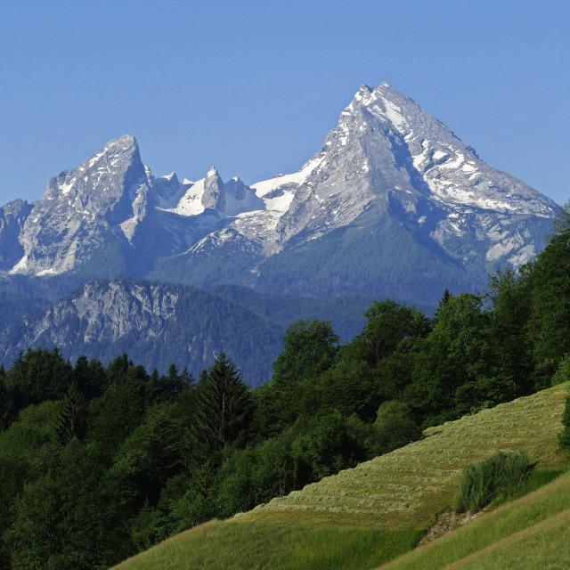 """Watzmann Mountain (2713m), Berchtesgaden, Upper Bavaria, Bavaria, Germany"" stock image"