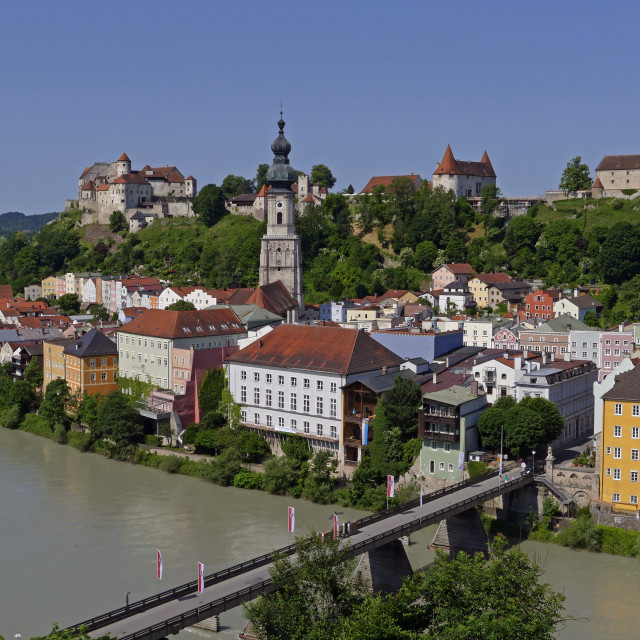 """Salzach River and Old Town with Castle, Burghausen, Upper Bavaria, Bavaria,..."" stock image"