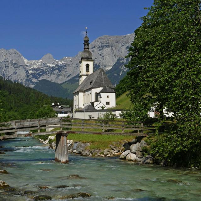 """""""Parish Church against Reiteralpe, Ramsau, Upper Bavaria, Bavaria, Germany"""" stock image"""