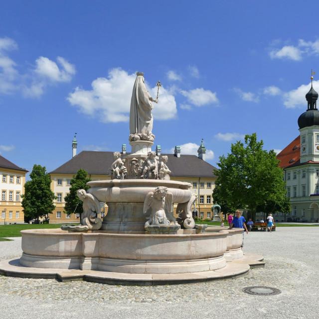 """Kapellplatz Square with Town Hall, Altoetting, Upper Bavaria, Bavaria, Germany"" stock image"
