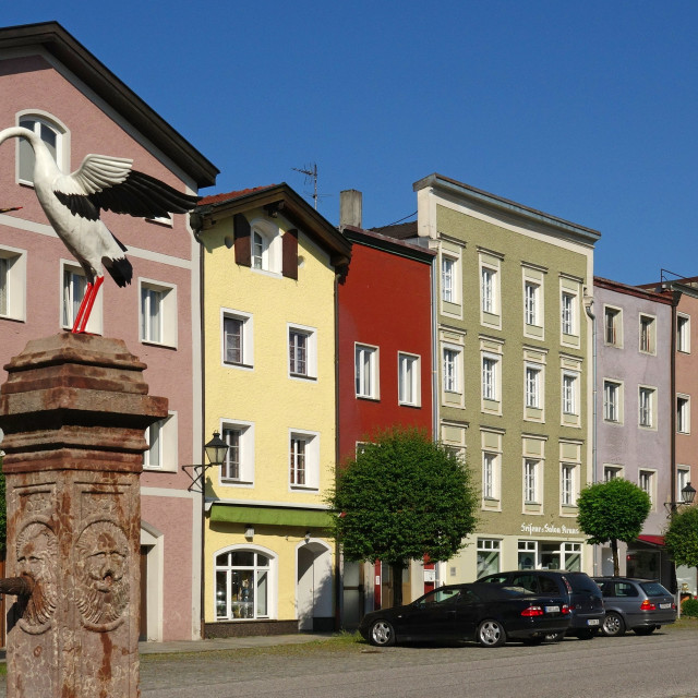 """Old town of Tittmoning, Upper Bavaria, Germany"" stock image"