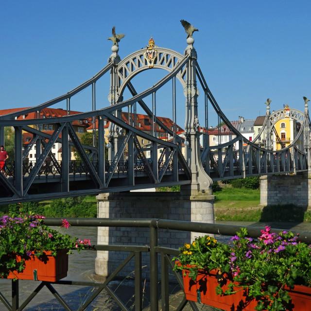 """Salzach Bridge, Laufen on Salzach River, Upper Bavaria, Bavaria, Germany"" stock image"
