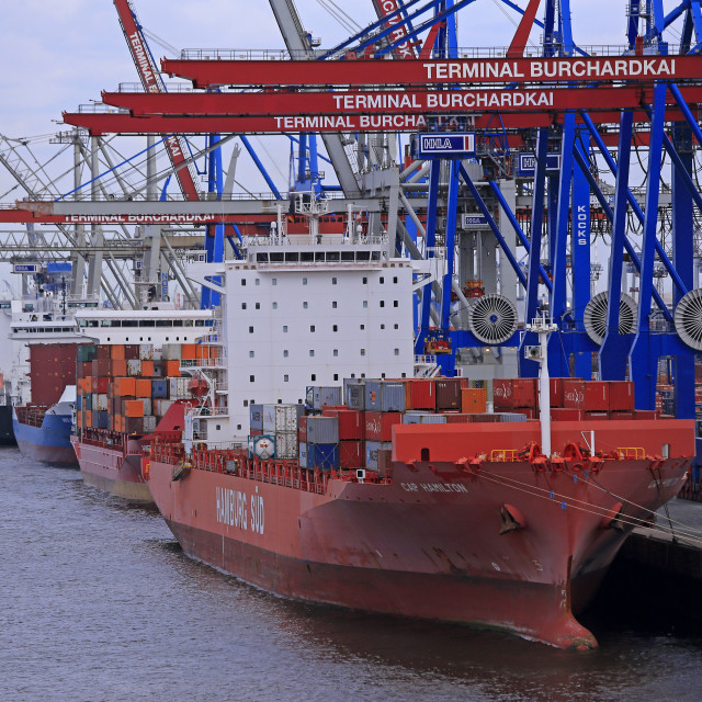 """Container Terminal Waltershof, Harbour of Hamburg, Hamburg, Germany"" stock image"