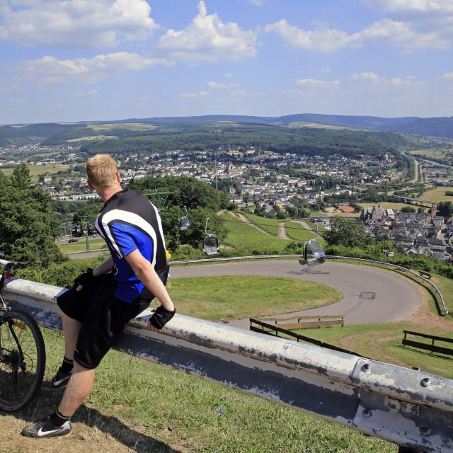 """""""View from Mount Warsberg to Saarburg, Saar River, Rhineland-Palatinate, Germany"""" stock image"""