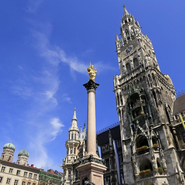 """Town hall at the Marienplatz, Munich, Upper Bavaria, Bavaria, Germany"" stock image"