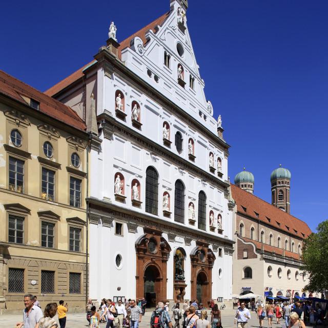 """Church St.Michael, Neuhauser Strasse, Munich, Upper Bavaria, Bavaria, Germany"" stock image"