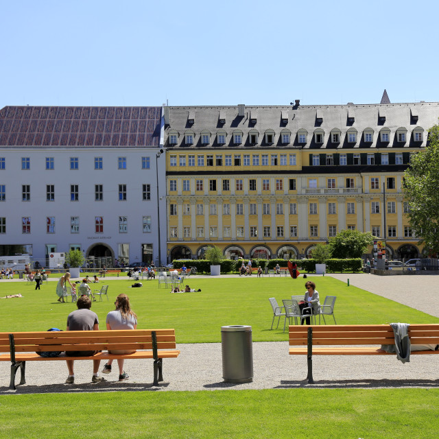 """Marienhof Square, Munich, Upper Bavaria, Bavaria, Germany"" stock image"