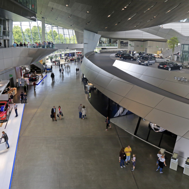 """BMW World at the Olympic Centre, Munich, Upper Bavaria, Bavaria, Germany"" stock image"