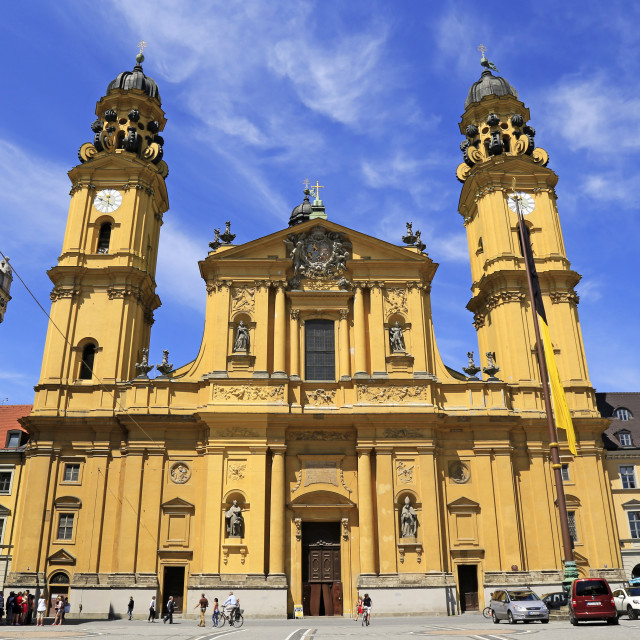 """Theatiner Church on Odeonsplatz Square, Munich, Upper Bavaria, Bavaria, Germany"" stock image"
