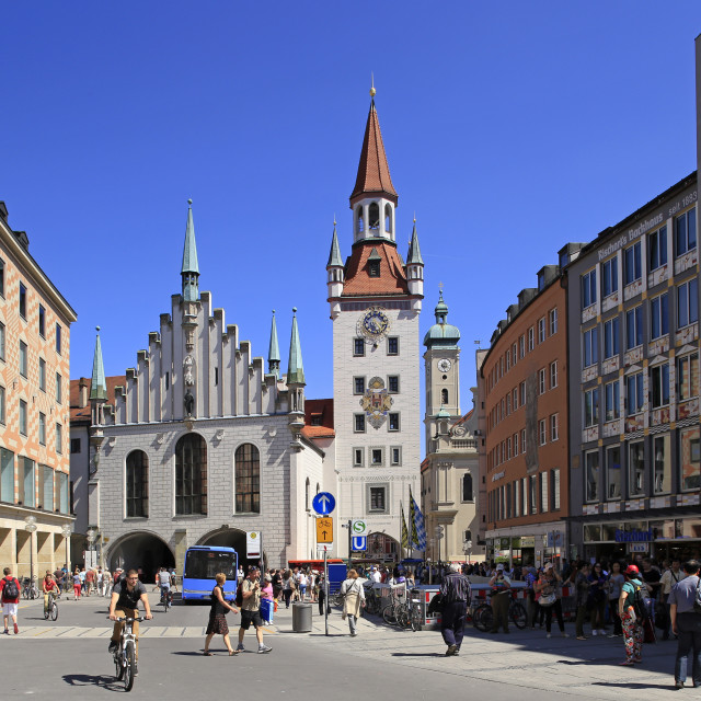"""Marienplatz Square with Old City Hall in Munich, Upper Bavaria, Bavaria, Germany"" stock image"