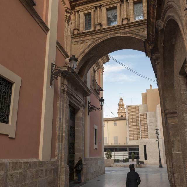 """""""Arch of La Calle de la Barchilla, Valencia, Spain, Europe"""" stock image"""