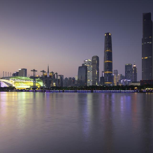"""Skyline of Tianhe at dusk, Guangzhou, Guangdong, China"" stock image"