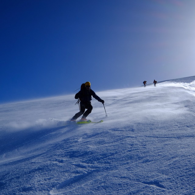 """""""Ski mountaineering on Mount Etna, Catania, Sicily, Italy, Europe"""" stock image"""