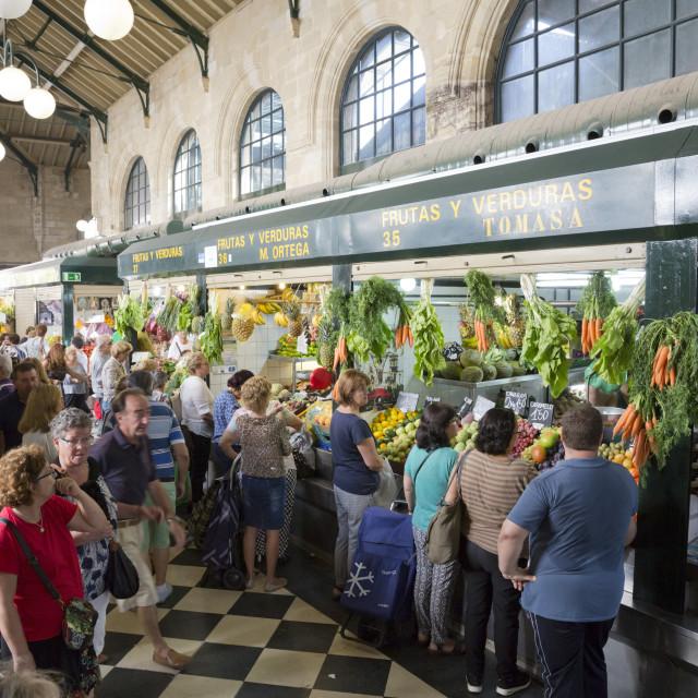 """""""Interior of Mercado Central de Abastos food market, Jerez de la Frontera,..."""" stock image"""