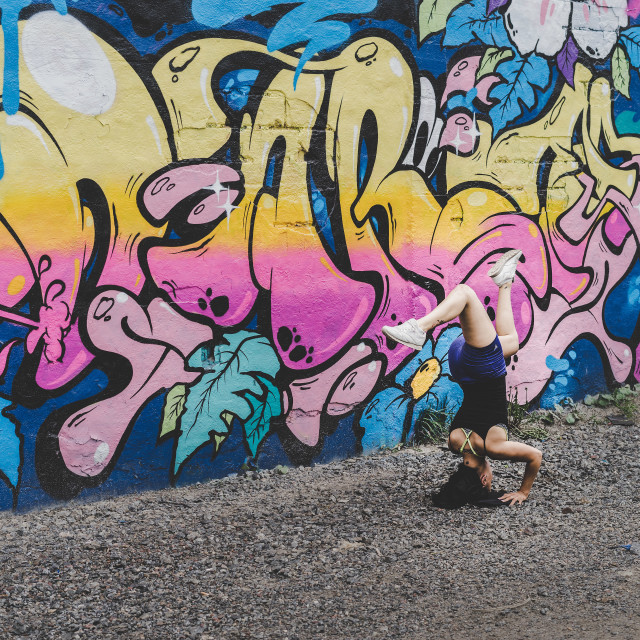 """Yoga Pose and Graffiti"" stock image"