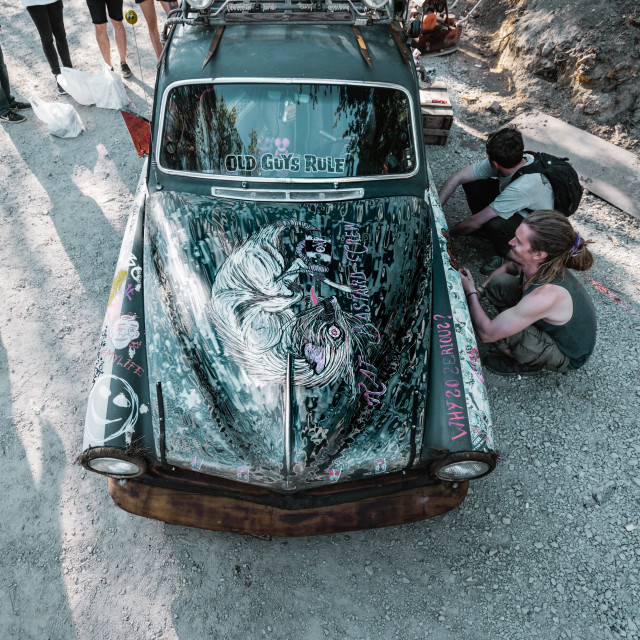 """Graffiti on a Vintage Car"" stock image"