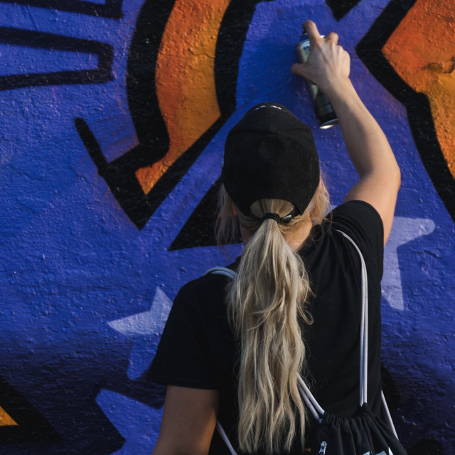 """Female Graffiti artist"" stock image"