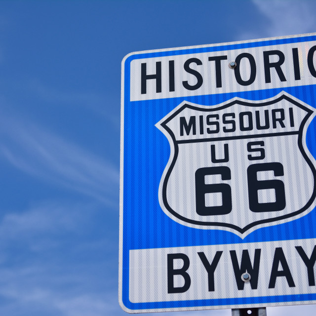 """""""Historic route 66 highway sign in Missouri USA"""" stock image"""