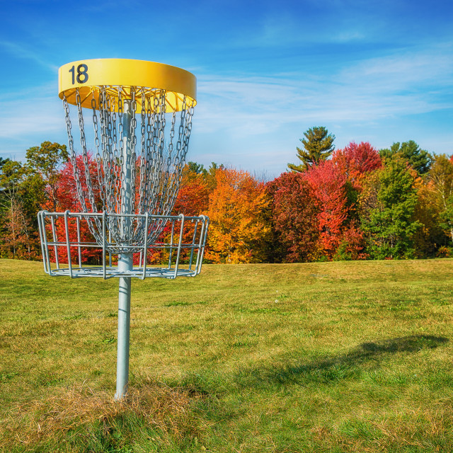 """Disc golf hole basket in autumn park"" stock image"