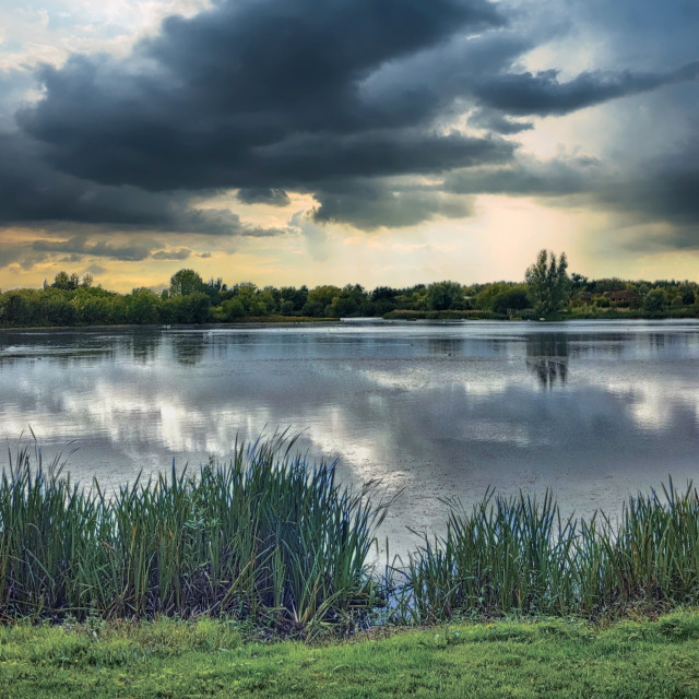 """""""Storm over a lake"""" stock image"""