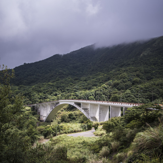 """""""A bridge in the Taiwanese mountains"""" stock image"""