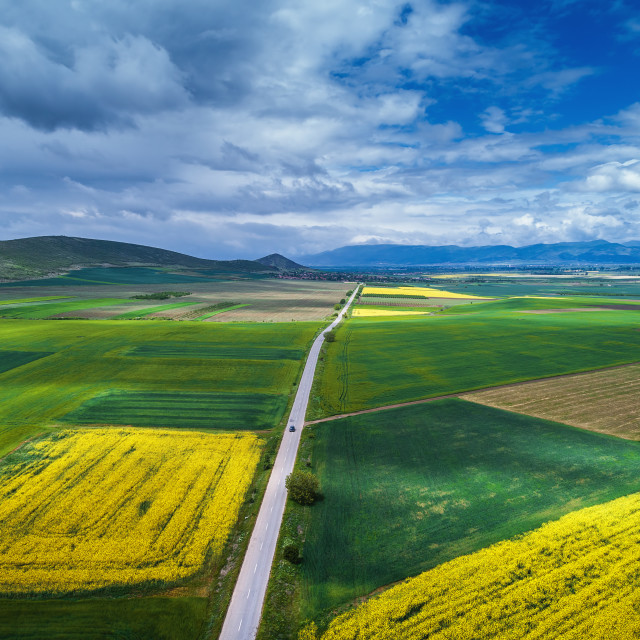 """Aerial view over the agricultural fields"" stock image"