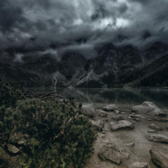 """Morskie Oko, Zakopane, Poland, Dark morning in Tatra Mountains"" stock image"
