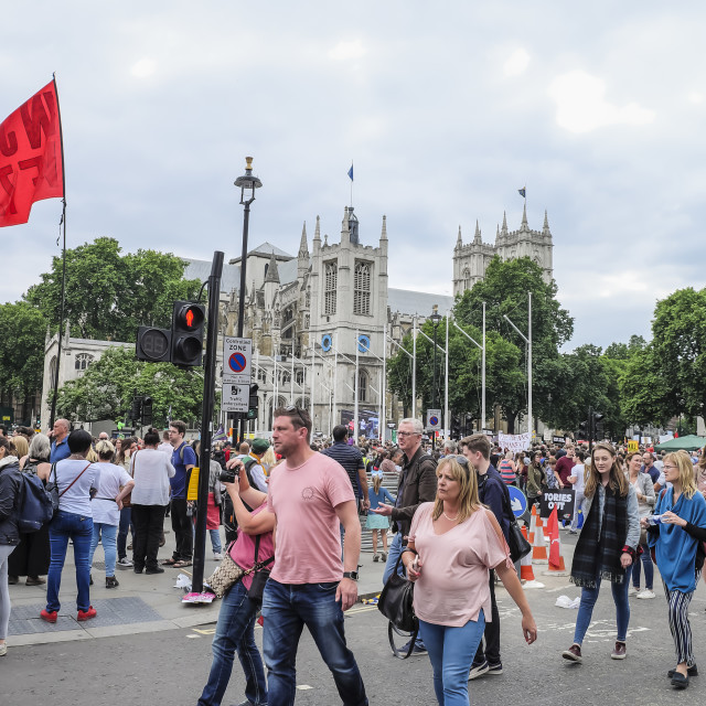 """""""Crowds at Parliament Square London"""" stock image"""