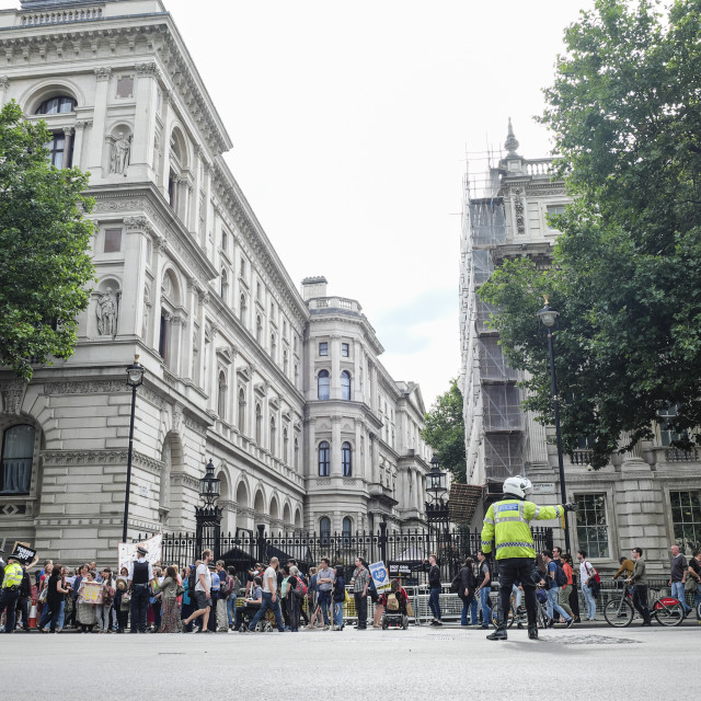 """Activists in front of gate of Downing Street"" stock image"