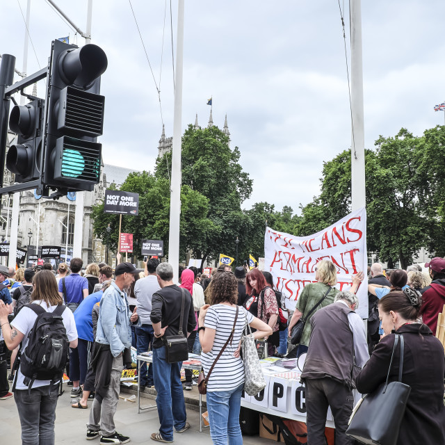 """Activists at Parliament Square London"" stock image"