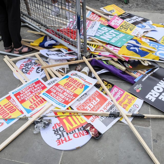 """""""Not One day More Placards on Concrete Floor"""" stock image"""