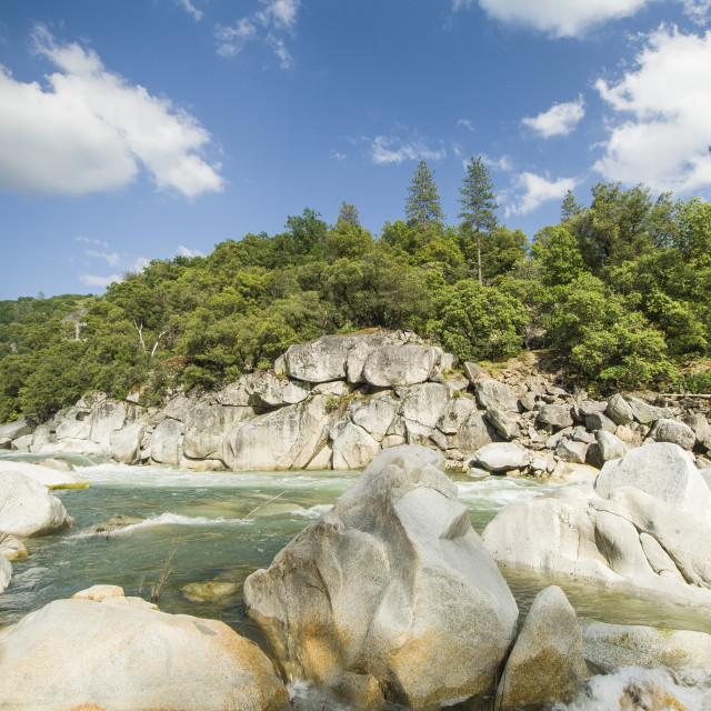 """""""South Yuba River and bolders, Nevada County"""" stock image"""