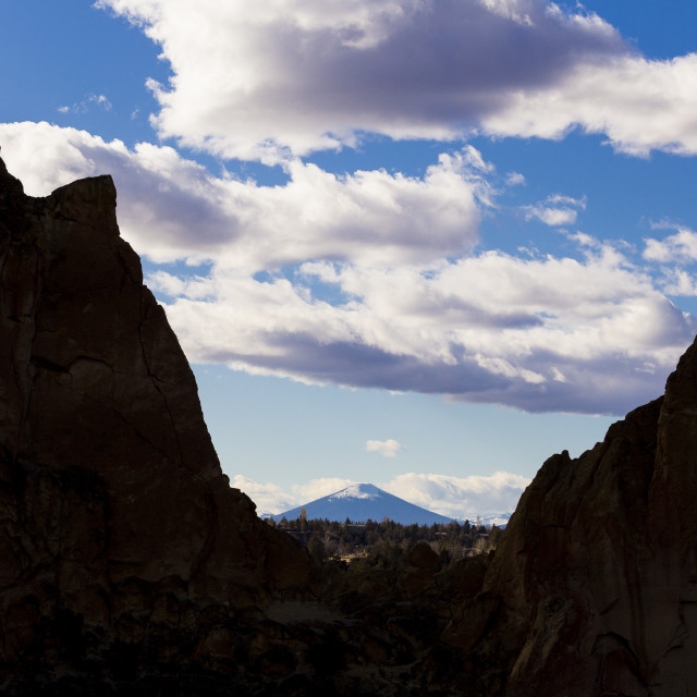 """Smith Rock framing Black Butte in Central Oregon"" stock image"
