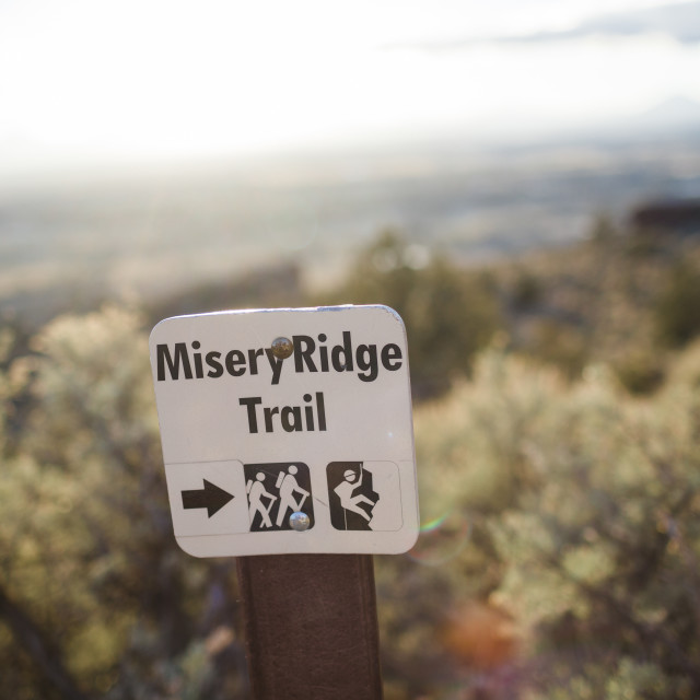 """Misery Ridge Trail sign at Smith Rock"" stock image"