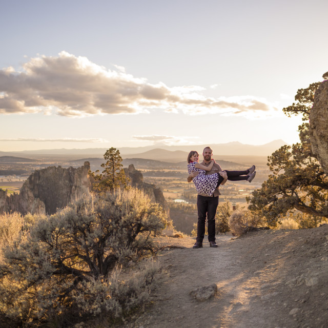 """Engaged Couple at Smith Rock in Oregon"" stock image"