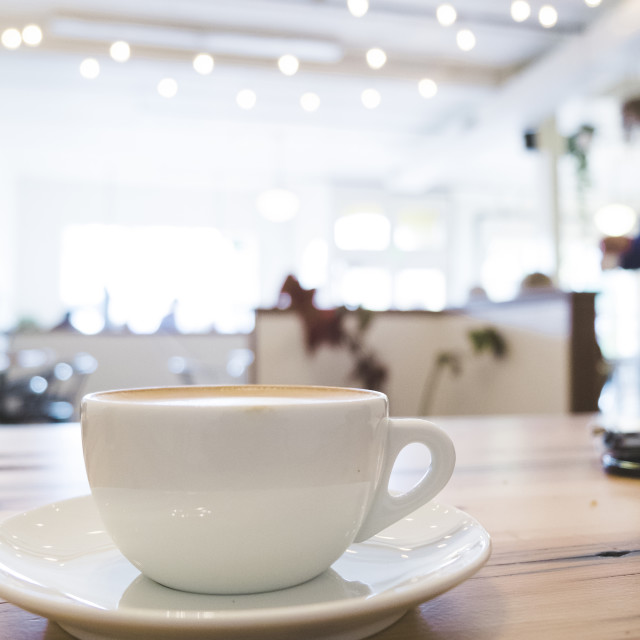 """""""Latte at a nice cafe."""" stock image"""